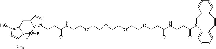 Structural formula of BDP-FL-PEG4-DBCO (also known as BODIPY® FL-PEG4-DBCO)