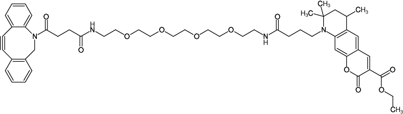 Structural formula of DBCO-PEG4-ATTO-425 (Abs/Em = 436/484 nm)
