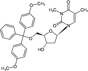 Structural formula of 5'-DMT-N3-methyl-2'-deoxythymidine
