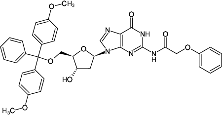 Structural formula of 5'-DMT-2'-deoxyguanosine (N-PAC)