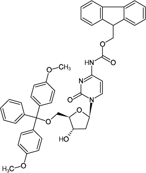 Structural formula of 5'-DMT-2'-deoxycytidine (N-Fmoc)