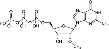 Structural formula of 2'OMe-GTP (2'-O-Methylguanosine-5'-triphosphate, Sodium salt)