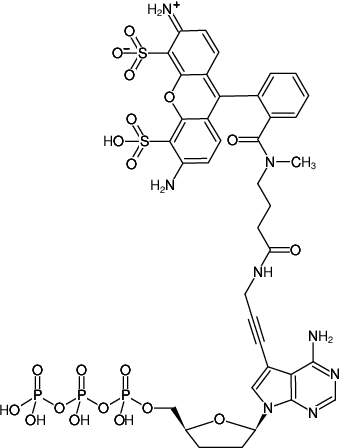 Structural formula of 7-Propargylamino-7-deaza-ddATP-ATTO-488 (7-Deaza-7-propargylamino-2',3'-dideoxyadenosine-5'-triphosphate, labeled with ATTO 488, Triethylammonium salt)