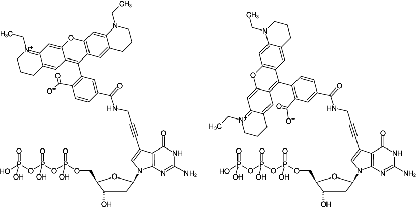 Structural formula of 7-Propargylamino-7-deaza-dGTP-ATTO-565 (7-Deaza-7-propargylamino-2'-deoxyguanosine-5'-triphosphate, labeled with ATTO 565, Triethylammonium salt)
