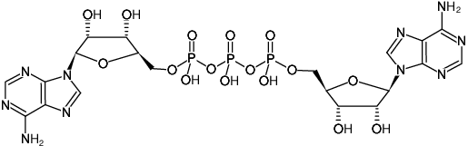 Structural formula of AP3A - Solution (P1-(5'-Adenosyl) P3-(5'-adenosyl) triphosphate, Sodium salt)