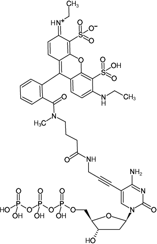 Structural formula of 5-Propargylamino-dCTP-ATTO-532 (5-Propargylamino-2'-deoxycytidine-5'-triphosphate, labeled with ATTO 532, Triethylammonium salt)