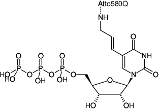Structural formula of Aminoallyl-UTP-ATTO-580Q (5-(3-Aminoallyl)-uridine-5'-triphosphate, labeled with ATTO 580Q, Triethylammonium salt)
