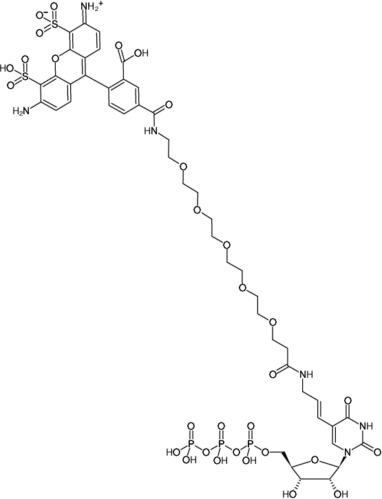 Structural formula of HighYield T7 AF488 RNA Labeling Kit (Preparation of randomly AF488-modified RNA probes by in vitro transcription with UTP-PEG5-AF488)