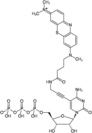 Structural formula of 5-Propargylamino-CTP - ATTO-MB2 (5-Propargylamino-cytidine-5'-triphosphate, labeled with ATTO-MB2, Triethylammonium salt)