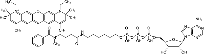 Structural formula of γ-(6-Aminohexyl)-ATP-ATTO-Rho13 (γ-(6-Aminohexyl)-adenosine-5'-triphosphate, labeled with ATTO Rho13, Triethylammonium salt)