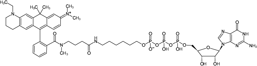 Structural formula of γ-(6-Aminohexyl)-GTP-ATTO-633 (γ-(6-Aminohexyl)-guanosine-5'-triphosphate, labeled with ATTO 633, Triethylammonium salt)