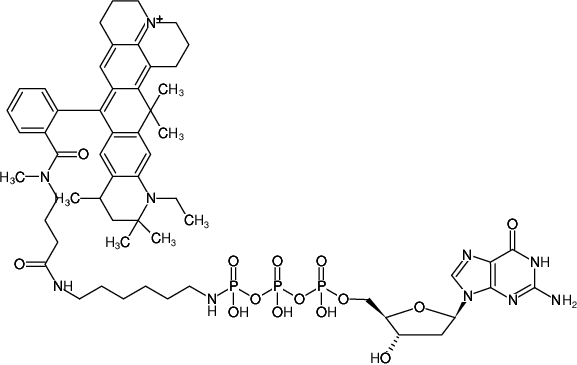 Structural formula of γ-[(6-Aminohexyl)-imido]-dGTP-ATTO-647N (γ-[(6-Aminohexyl)-imido]-2'-deoxyguanosine-5'-triphosphate, labeled with ATTO-647N, Triethylammonium salt)