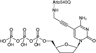 Structural formula of 5-Propargylamino-ddCTP-ATTO-540Q (5-Propargylamino-2',3'-dideoxycytidine-5'-triphosphate, labeled with ATTO 540Q, Triethylammonium salt)