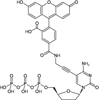 Structural formula of 5-Propargylamino-ddCTP-5-FAM (5-Propargylamino-2',3'-dideoxycytidine-5'-triphosphate, labeled with 5 FAM, Triethylammonium salt)