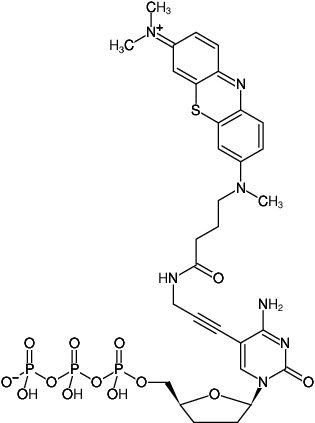 Structural formula of 5-Propargylamino-ddCTP - ATTO-MB2 (5-Propargylamino-2',3'-dideoxycytidine-5'-triphosphate, labeled with ATTO-MB2, Triethylammonium salt)