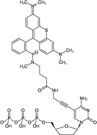 Structural formula of 5-Propargylamino-ddCTP-ATTO-Thio12 (5-Propargylamino-2',3'-dideoxycytidine-5'-triphosphate, labeled with ATTO Thio12, Triethylammonium salt)
