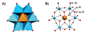 Polyhedral (A) and ball and stick (B) representation of [TeW6O24]6− with different coordination modes of the oxygen atoms in panel B.[1] Figure used by courtesy of Prof. Annette Rompel, University of Vienna.