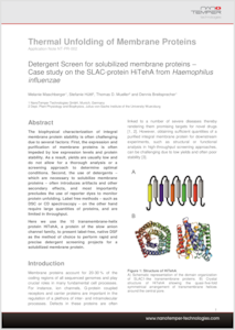 Preview NanoTemper Application Note: Thermal Unfolding of Membrane Proteins